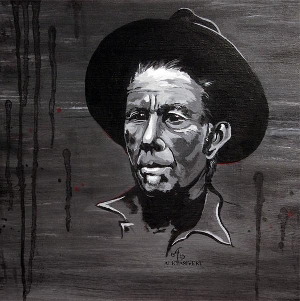 aliciasivert, alicia sivertsson, tom waits, akryl, porträtt, portrait, black and white, painting, målning, hat, hatt