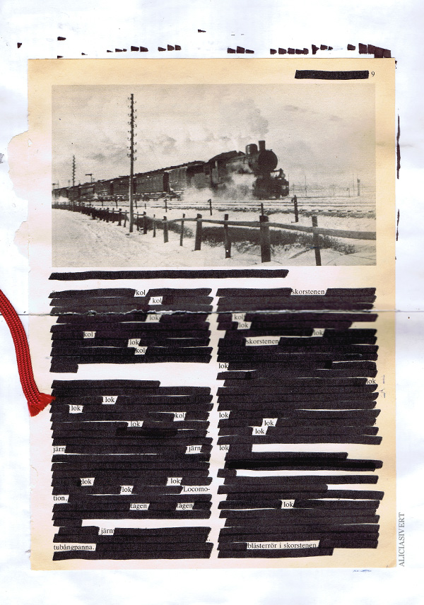aliciasivert, alicia sivertsson, collage, blackout, lok, tåg, kol, blästerrör, skorsten, tubångpanna, train, coal