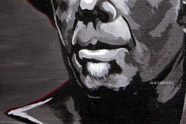 aliciasivert, alicia sivertsson, tom waits, akryl, porträtt, portrait, black and white, painting, målning, mouth, close-up, närbild