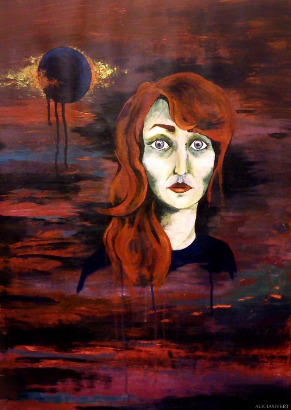 aliciasivert, alicia sivertsson, self portrait, självporträtt, mars, acryl, akryl