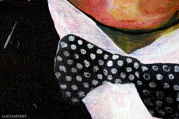 aliciasivert, alicia sivert, alicia sivertsson, andreas, målning, akryl, canvas, acrylic paint, acrylics, portrait, porträtt, man, colours, detail, bowtie, detaljbild, fluga