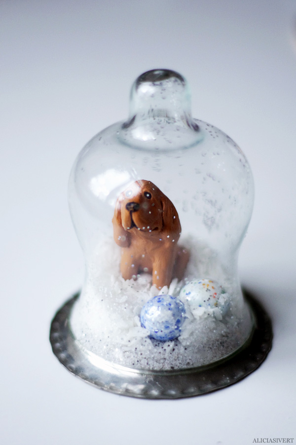 aliciasivert, alicia sivertsson, diy, remake, julklapp, upcycle, återbruk, do it yourself, snow globe, snowglobe, winter, christmas, holidays, snökula, snöglob, snölandskap, gör det själv, hund, dog