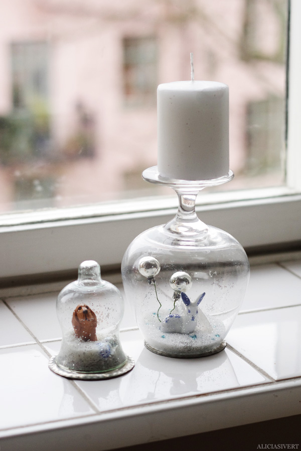 aliciasivert, alicia sivertsson, diy, remake, upcycle, återbruk, julklapp, do it yourself, snow globe, snowglobe, winter, christmas, holidays, snökula, snöglob, snölandskap, gör det själv, knain, rabbit, bunny, dog, hund