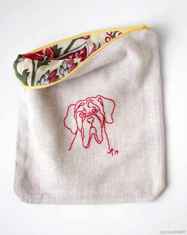 aliciasivert, alicia sivertsson, alicia sivert, hantverk, alster, makeri, craft, handicraft, saksamlarpåse, saksamlarpåsar, påse, påsar, pouch, needlework, embroidery, broderi, textilhantverk, mastiff, hund, dog
