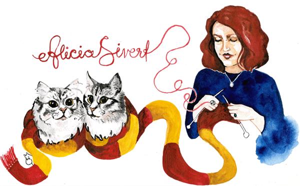 aliciasivert, alicia sivertsson, bloggheader, blog header, blogg, sticka, hantverk, stickning, harry potter, gryffindor, halsduk, scarf, gryffindorhalsduk, hogwarts, dödskallering, ring, garn, text, katt, katter, grådvärgarna, tofslan och vifslan, mumin, moomin, mumintrollet, cat, cats, portrait, porträtt, målning, akvarell, aquarelle, painting