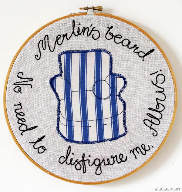 aliciasivert, alicia sivert, alicia sivertsson, monthly makers, magi, harry potter, måne, moon, magic, creativity, kreativitet, skapa, skapande, konst, textil, broderi, applikation, textile, embroidery, citat, quote, craft, horace slughorn, professor, armchair, fåtölj, snigelhorn, merlin's beard no need to disfigure me albus