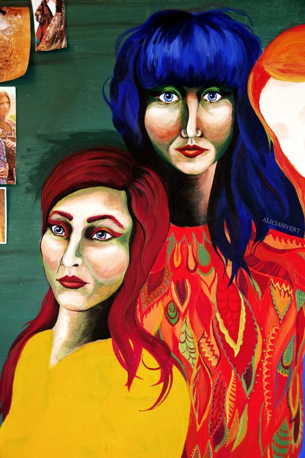 aliciasivert, alicia sivertsson, self portrait, självporträtt, mars, acryl, akryl, portrait, porträtt, tre kvinnor, three women, honky tonk women, hippie, peace, paint, sixties, 60's, sextiotal, 60-tal