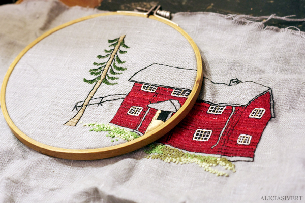 aliciasivert, alicia sivert, alicia sivertsson, broderi, embroidery, needlework, hoop art, swedish house, farfarstugan, stuga, timmerstuga, tall, pine, cottage, världsbroderidagen, world emrboidery day