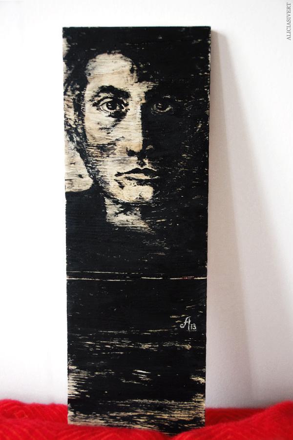 aliciasivert, alicia sivertsson, akryl, porträtt, portrait, black and white, painting, målning, bräda, board, man, alster och makeri, skapande, kreativitet
