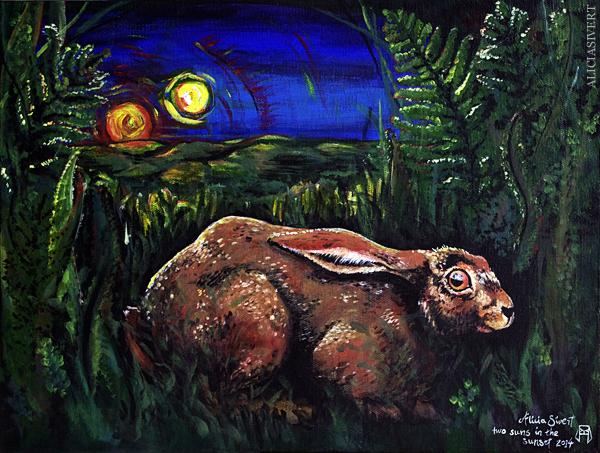 Aliciasivert, alicia sivert, alicia sivertsson, two suns in the sunset, painting, acrylics, acrylic, akryl, akrylfärg, målning, måla, tavla, kanin, rabbit, bunny, hare, två solar i solnedgången, undergång, end of the world, domedagen