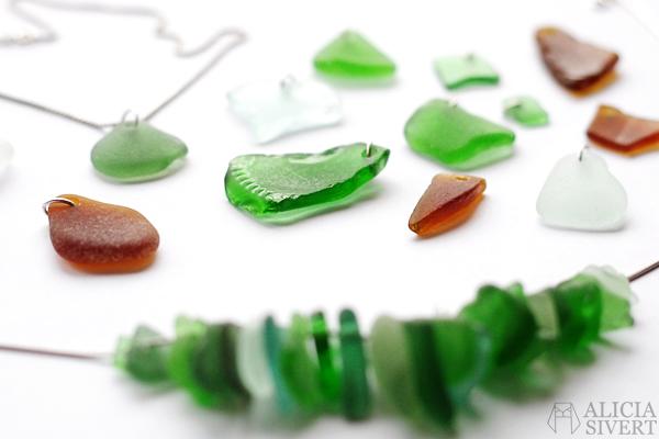 Sea glass jewellry by Alicia Sivertsson, 2015. Alicia Sivert, aliciasivert, monthly makers, december, glas, havsglas, borra i, smycke, smycken, halsband, hänge, hängen, skapa, skapande, kreativitet, creativity, create, diy, do it yourself, bloggkollektiv, bloggutmaning, blogg, bloggande, jewelry, necklace