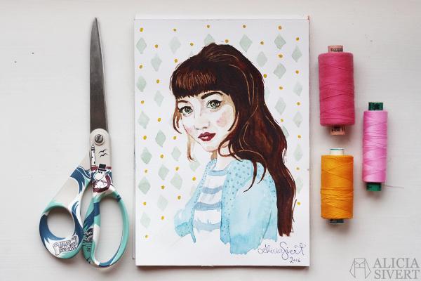 """""""Fredrika på vinden"""", water colour portrait by Alicia Sivertsson, 2016. aquarelle, akvarell, water color, porträtt, fredrikapåvinden, måla, målning, creativity, kreativitet, skapande, skapa, måla varje vecka, måla en sak i veckan, vattenfärg, blogg, bloggare, bloggporträtt"""