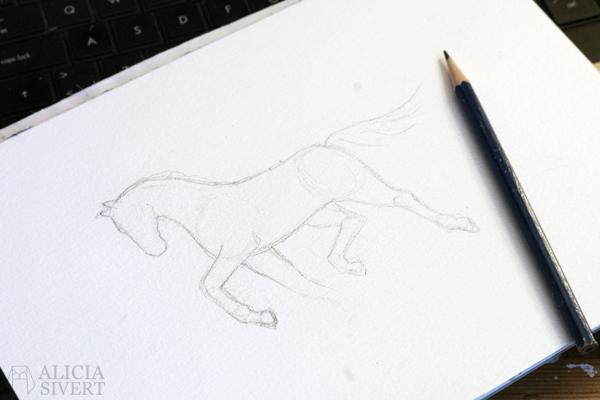 Horse study by Alicia Sivertsson, 2016.