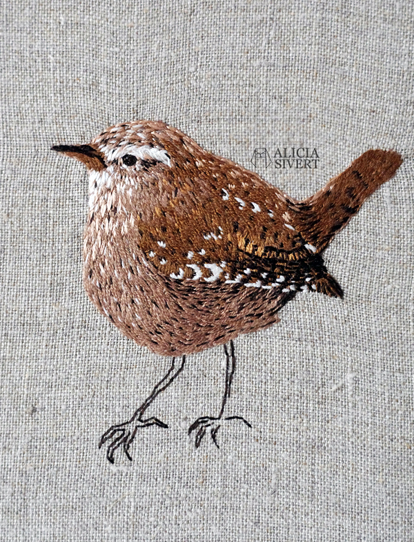 Gärdsmyg wren embroidery by Alicia Sivertsson, 2016. fritt broderi free embroidery needlework textile art hand stitched hoopart textilkonst konst konstsömnad fågel fåglar skapa skapande kreativitet creativity