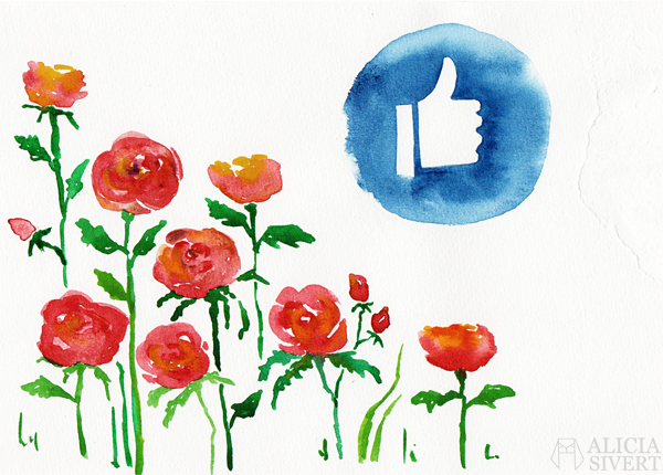 like facebook watercolor watercolour water color colour akvarell aquarelle vattenfärg måla målning paint painting rose roses thumbs up gilla en tjej tumme upp feminism 8:e mars manifest