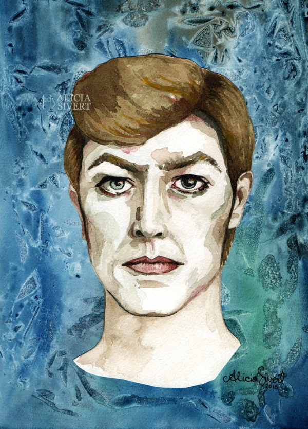 """Starman"", David Bowie portrait in aquarelle by Alicia Sivertsson, 2016. water colour color watercolor watercolour akvarell vattenfärg måla målning painting paint porträtt aliciasivert alicia sivert skapa skapanade kreativitet creativity create"