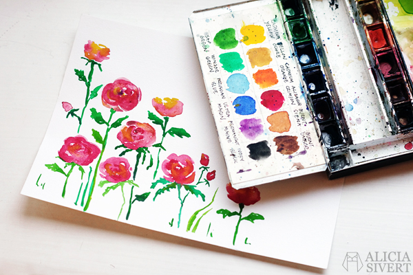 aliciasivert alicia sivert alicia sivertsson rose roses ros rosor måla måleri akvarell vattenfärg aquarelle watercolour watercolor water colour color paint painting
