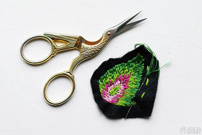 fritt broderi embroidery blad löv palettblad aliciasivert