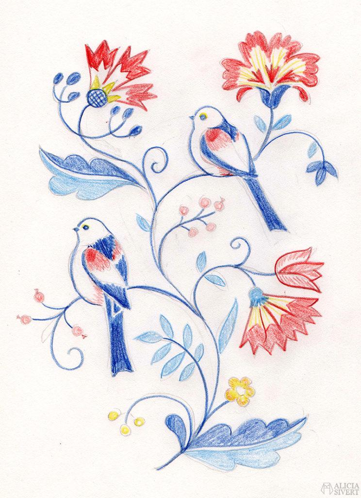 aliciasivert fritt broderi handbroderi blekingesöm stjärtmes stjärtmesar fåglar rosa gult blått vårfärg frihandbroderi free hand embroidery needlework hoop art textile textilkonst skapa skapande kreativitet sy brodera måla med tråd fågel fåglar long tailed tits tit tistel blomma blommor blekinge söm landskapssöm landskapssömmar bygdebroderi plattsöm schattérsöm bottensöm stjälkstygn stygn söm handarbetets vänners skola vänner