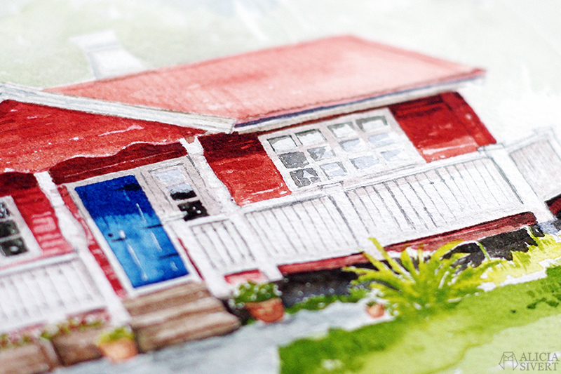 aliciasivert alicia sivert sivertsson måla måleri akvarell aquarelle water color colour watercolor watercolour paint painting hus house fritidshus beställning beställa målning björsbo fagersta rött hus blå dörr timmerstuga stuga present skapa skapande kreativitet konst art trädgård garden