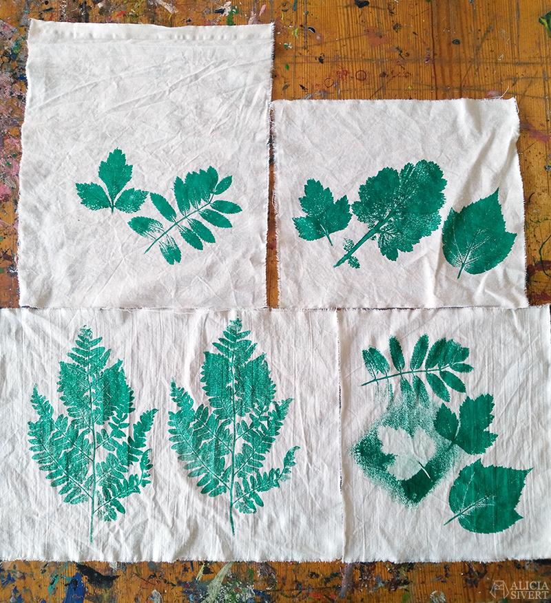 aliciasivert alicia sivertsson  skapande kreativitet alicia sivert tyg textil textiltryck tygtryck tryck blad löv växtdelar