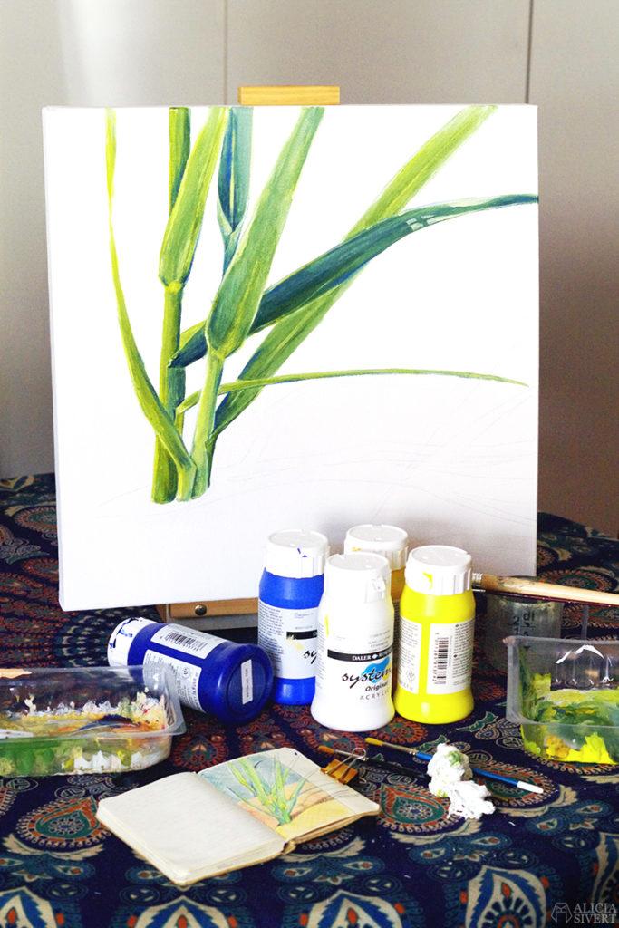 aliciasivert alicia sivert sivertsson akryl akrylmålning akrylfärg acrylic acrylics målning måla måleri painting vass blad strån gräs sandstrand strand