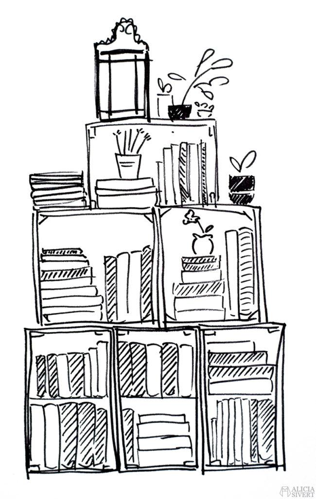 alicia sivert sivertsson aliciasivert teckning teckningar drawing drawings art tusch ink bläck kreativitet skapa skapande bokhylla av träbackar trä back backar bok hylla