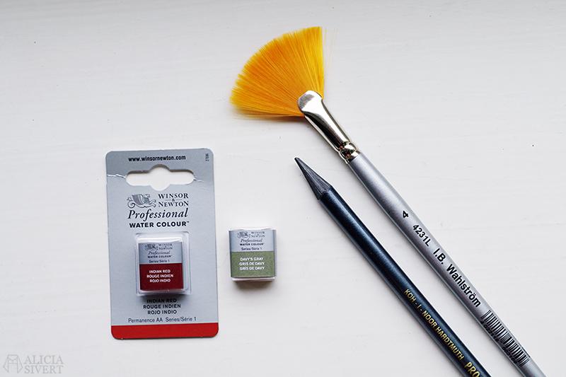 ib wahlströms konstnärshandel fjäderpensel fjäder pensel indian red davy's gray akvarell akvarellfärg grafitpenna