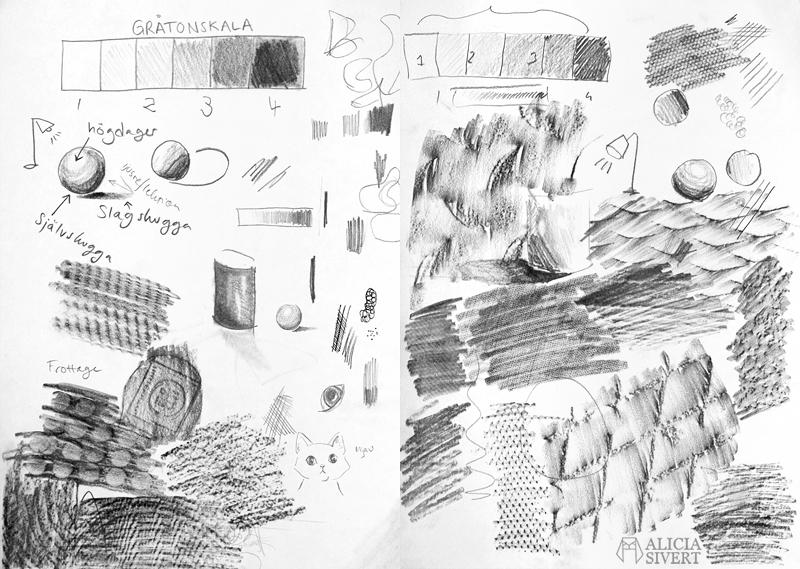 aliciasivert alicia sivert sivertsson teckning teckna skugga skuggning prickar streck blyerts frottage slagskugga självskugga högdager teknik tekniker teckningstekniker blyertsteckning gråtonsskala