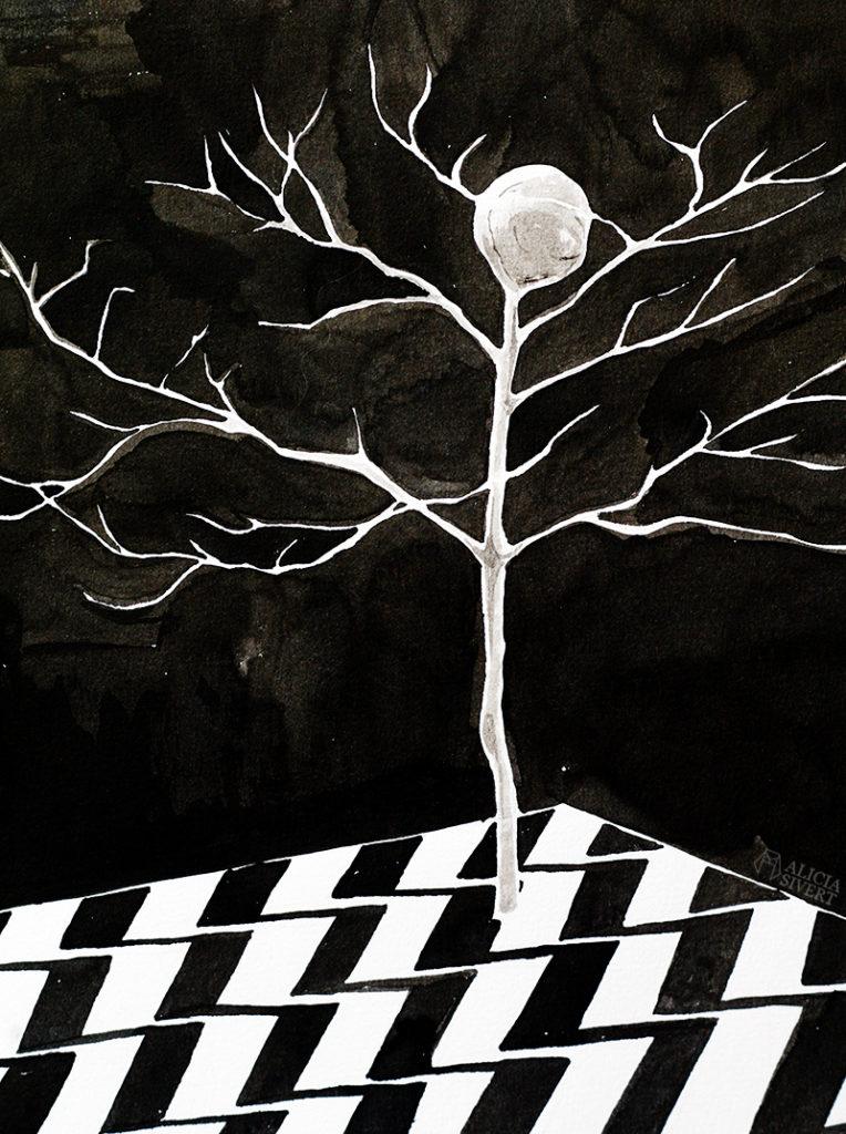 alicia sivert sivertsson aliciasivert konst konstverk teckning teckningar drawing drawings art tusch ink bläck tuschteckning kreativitet skapa skapande twin peaks the black lodge MIKE the one-armed man the tree doppelganger