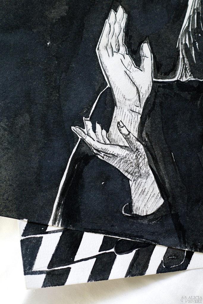alicia sivert sivertsson aliciasivert konst konstverk teckning teckningar drawing drawings art tusch ink bläck kreativitet skapa skapande händer hand hands twin peaks laura palmer the black lodge meanwhile