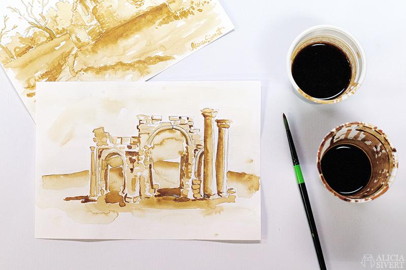 aliciasivert alicia sivert sivertsson skapa skapande kreativitet hantverk handgjort rita teckna måla målning teckning kaffe måla med kaffe ruin ruiner bildochform skapa med barn