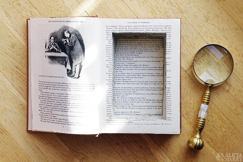 aliciasivert alicia sivert sivertsson ihålig bok hollow book safe case sherlock holmes diy do it yourself böcker skapa skapande gömställe ledtrådar skatter