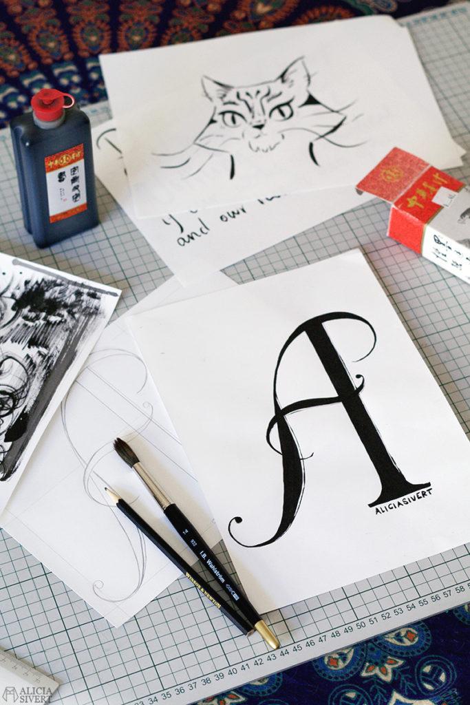 alicia sivert sivertsson aliciasivert konst konstverk teckning teckningar drawing drawings art tusch ink bläck kreativitet skapa skapande kalligrafi calligraphy typography typografi initial anfang bokstaven bokstav a letter lettering letters