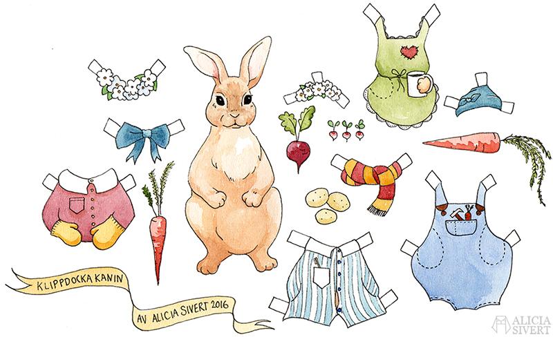 Bunny cut-out doll printable by Alicia Sivertsson. aliciasivert alicia sivert rabbit kanin klippdocka klipp docka skriva ut skriv ut färglägg färglägga print colour color book pyjamas snickarbyxor rosett bow tie gryffindorhalsduk halsduk blommor krans blomsterkrans mössa monthly makers oktober 2016 leksaker akvarell målning måla diy skapa skapande kreat hare jacka jacket