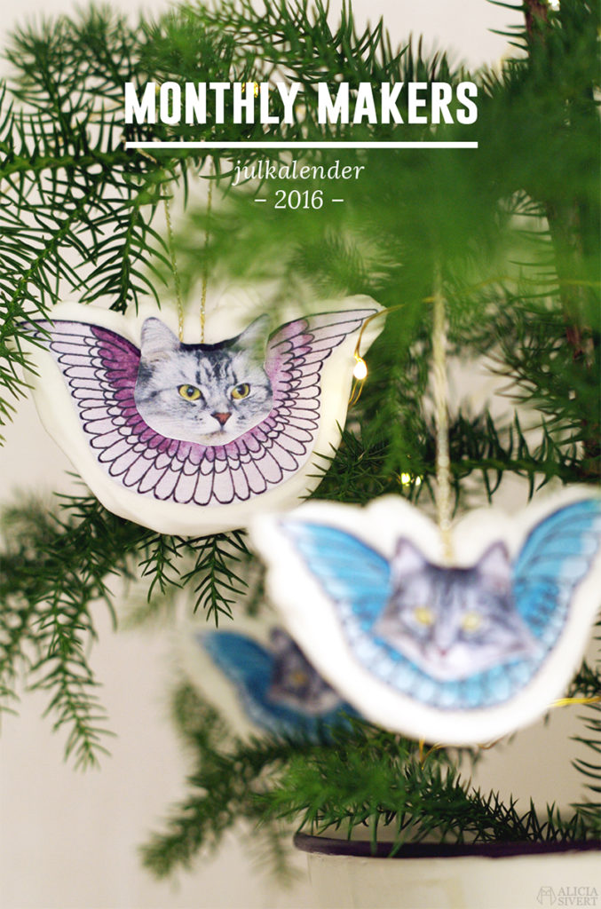 aliciasivert alicia sivertsson sivert skapa skapande kreativitet diy do it yourself gör det själv create creativity jul christmas x-mas cat cats katter katt kristyrkatt kristyrkatter kristyränglar recept instruktioner template printable nedladdningsbara vingar tofslan vifslan gran julgran christmas tree monthly makers julkalender 2016 lucka lucköppning