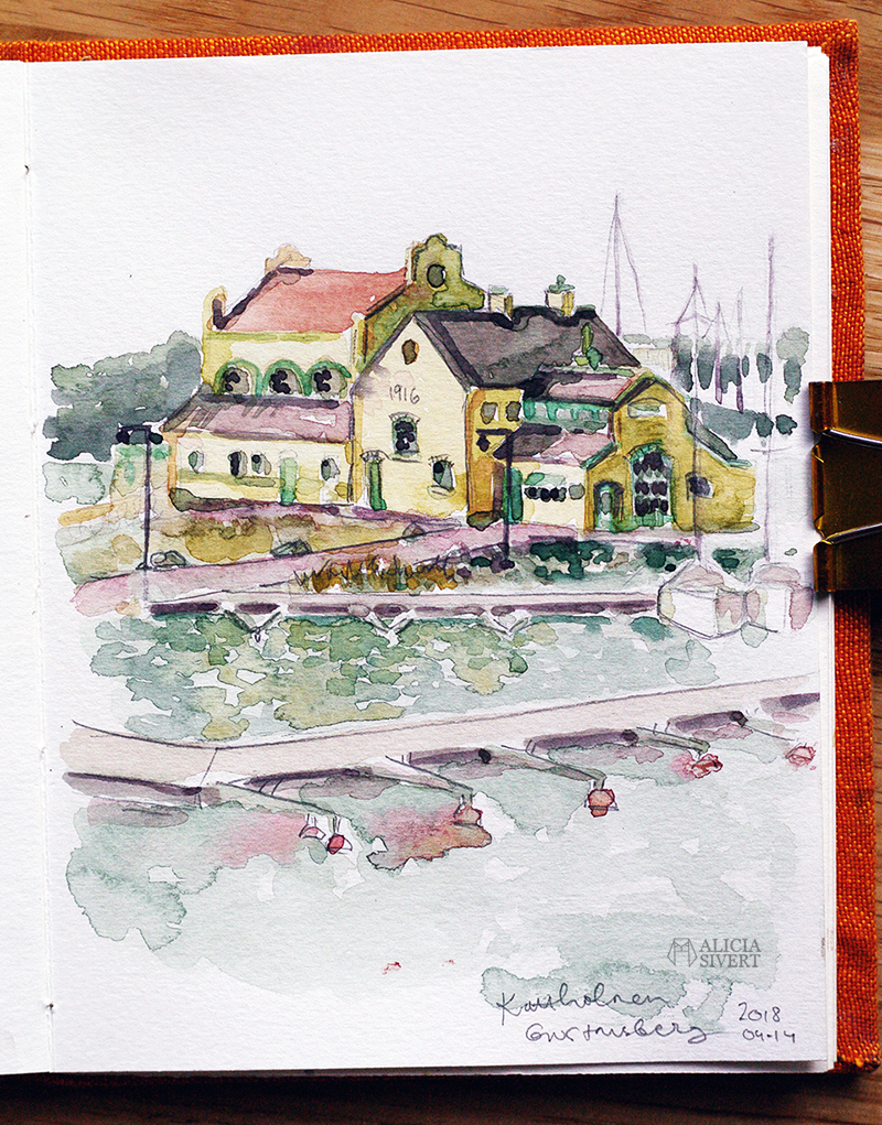 aliciasivert.se alicia sivert sivertsson aliciasivert värmdö värmdömotiv akvarell akvarellmålning målning målningar konst vattenfärg watercolor watercolour water color colour aquarelle house painting paintings art sweden swedish gustavsberg gustavsbergs hamn tegelhus gult tegel kattholmen kraftstation