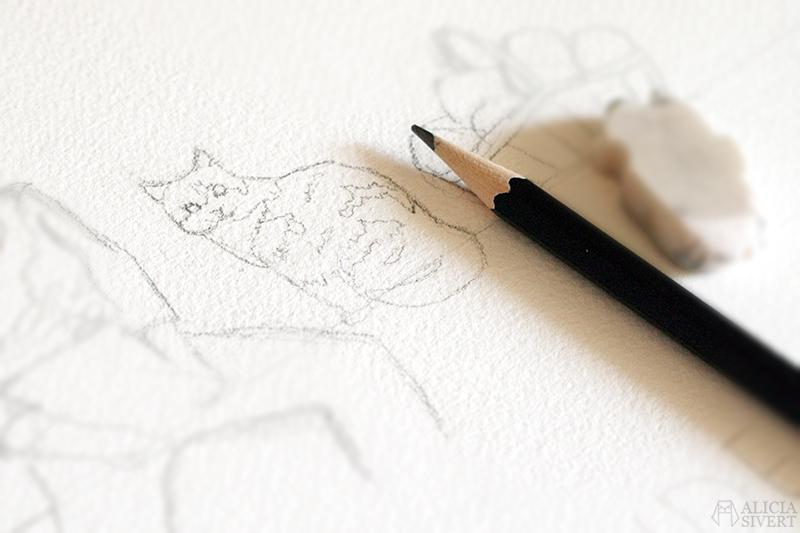 aliciasivert alicia sivert sivertsson konst teckning teckningar skiss skisser rita katt katter katten illustration skapande