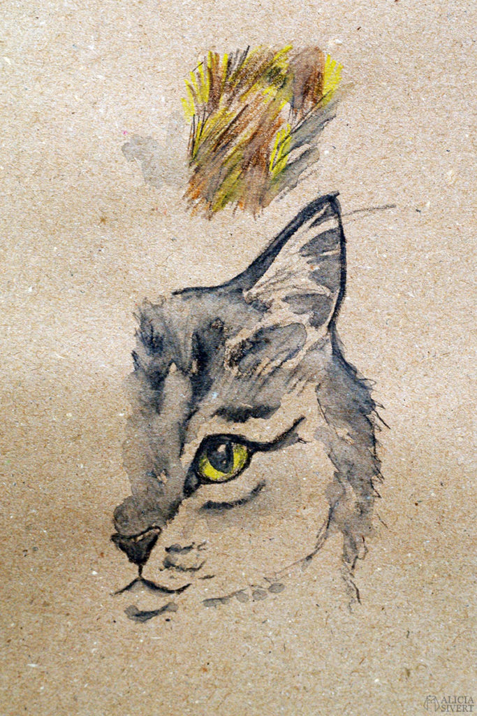 Teckningsutmaningen i juni, foto av Alicia Sivertsson. aliciasivert teckning teckningar teckna rita skiss skissa skapa skapande utmaning kreativitet skaparutmaning bloggutmaning månadsutmaning kreativ penna pennor akvarellpenna akvarellpennor illustration katt