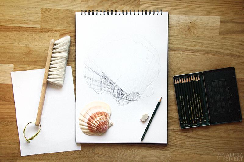 Teckningsutmaningen i juni, foto av Alicia Sivertsson. aliciasivert teckning teckningar teckna rita skiss skissa skapa skapande utmaning kreativitet skaparutmaning bloggutmaning månadsutmaning kreativ penna pennor blyerts blyertspenna blyertspennor a3 snäcka snäckor