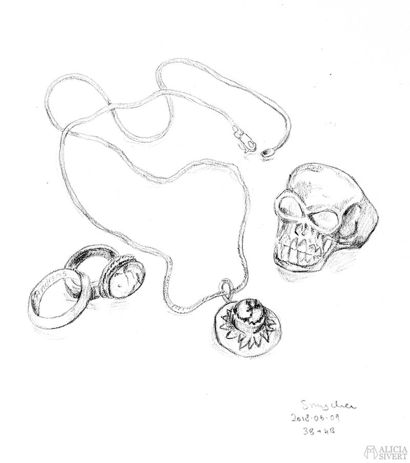 Teckningsutmaningen i juni, foto av Alicia Sivertsson. aliciasivert teckning teckningar teckna skiss skissa rita skapa skapande utmaning kreativitet skaparutmaning bloggutmaning månadsutmaning kreativ penna pennor blyertspennor blyertspenna smycke smycken