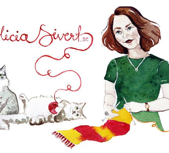 """Headerbild målad i akvarell, Alicia Sivert i grön t-shirt stickar en Gryffindorhalsduk i rött och gult medan katterna Tofslan och Vifslan leker med ett garnnystan. Garnet bildar texten """"Alicia Sivert.se""""."""