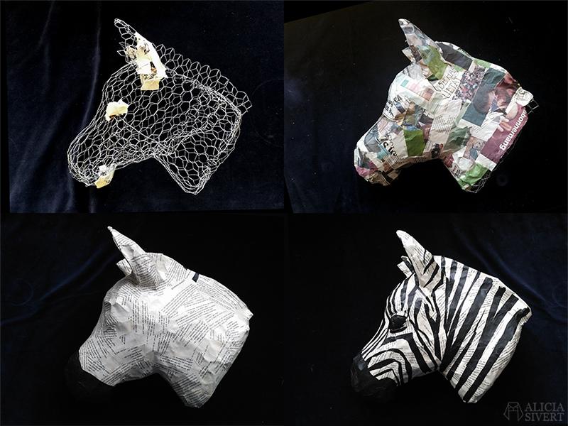Zebraskulptur av Alicia Sivertsson www.aliciasivert.se. Hönsnät och papier-maché med boksidor och silkespapper. ----- www.aliciasivert.se aliciasivert.se alicia sivert aliciasivert alicia sivertsson skapa skapande skulptur kreativitet skulptera papier-maché hönsnät boksidor böcker återbruk remake zebra zebrahuvud bli kreativ börja skapa blogg