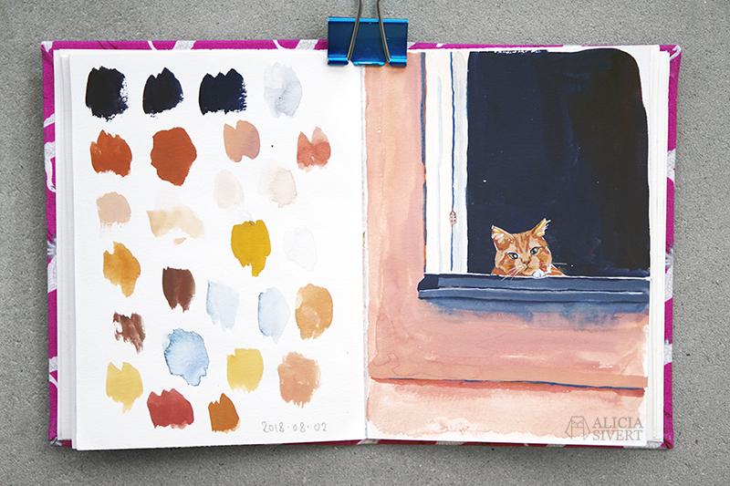 Katt i fönster, gouachemålning av Alicia Sivertsson aliciasivert.se aliciasivert alicia sivert katter gul katt röd katt tittar ut titta ut genom fönster måla målning målningar vattenfärg gouache gouachemålning water colour watercolour water color watercolor