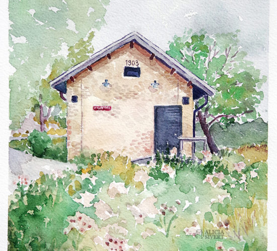 aliciasivert.se alicia sivert sivertsson aliciasivert värmdö värmdömotiv akvarell akvarellmålning målning målningar konst vattenfärg watercolor watercolour water color colour aquarelle house painting paintings art sweden swedish gustavsberg gustavsbergs hamn oxstallet oxstall tegelhus gult tegel