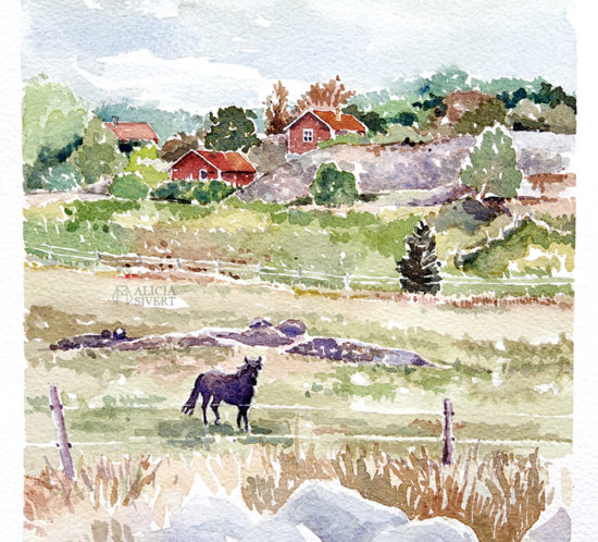 Möte vid Noravägen, akvarellmålning av Alicia Sivertsson - aliciasivert.se alicia sivert aliciasivert värmdö värmdömotiv akvarell målning målningar konst vattenfärg watercolor watercolour water color colour aquarelle painting paintings art sweden swedish höst nora gård noravägen islandshäst häst