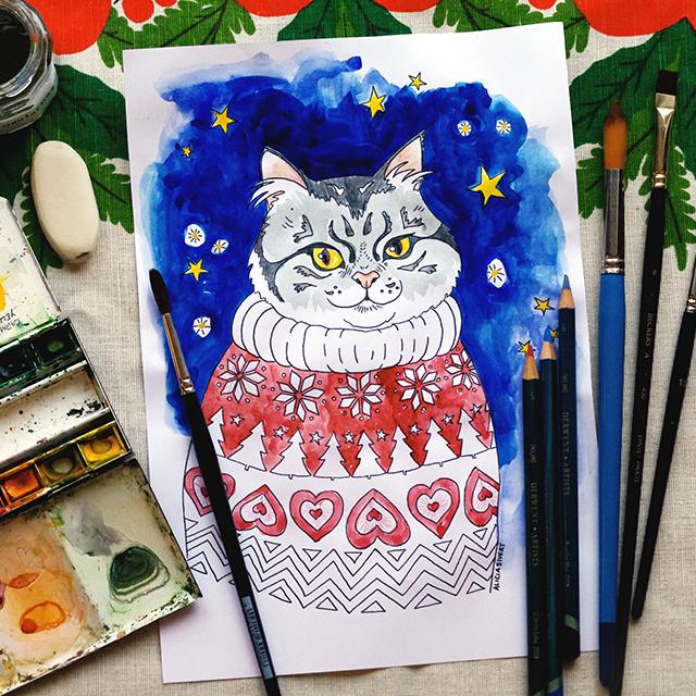 Färglägg katt i jultröja, gratis printable av Alicia Sivertsson - aliciasivert.se / jul hantverk diy katt katter julkatt julkatter jultröja tröja