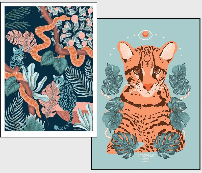 Jungle Cats och Catriarchy konsttryck av Frida Clerhage. Handgjord jul 2018, handgjorda lokalproducerade julklappar och presenter tillverkade av kvinnor och icke-binära i Norden.