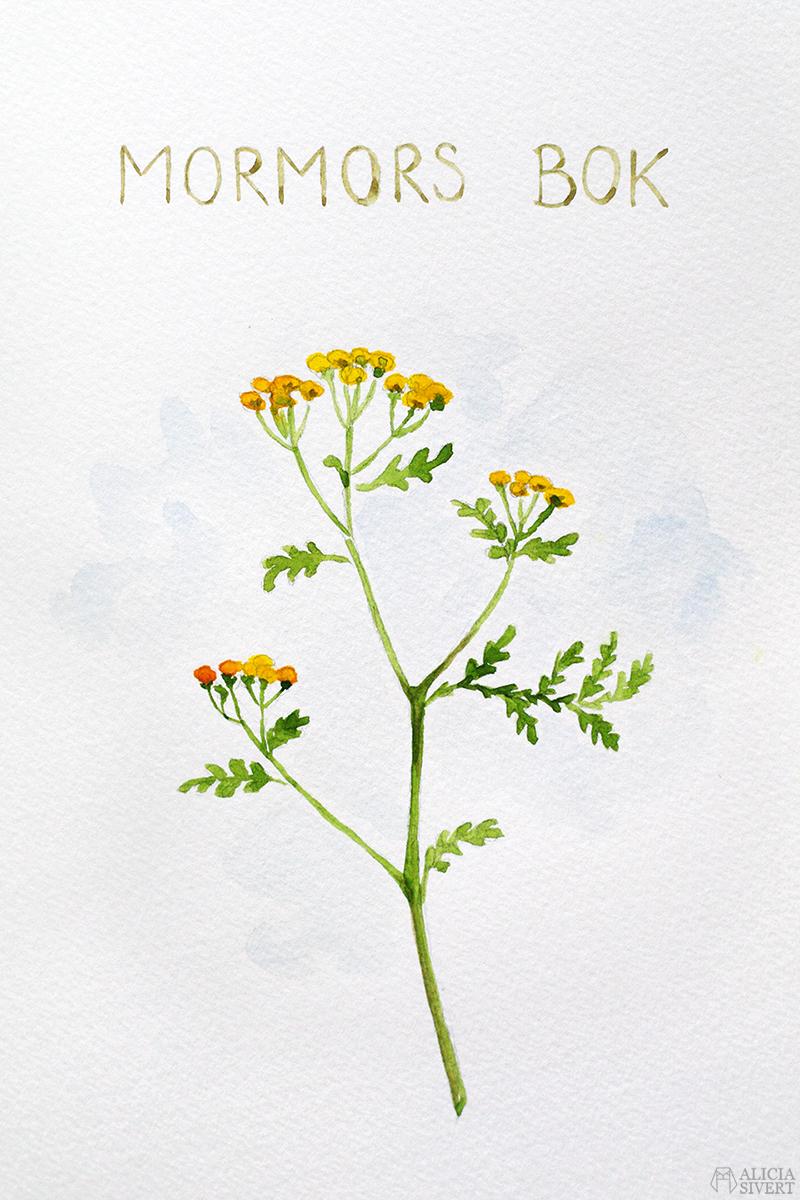 Mormors bok - handbunden bok med illustrationer i akvarell, av Alicia Sivertsson - www.aliciasivert.se / Renfana