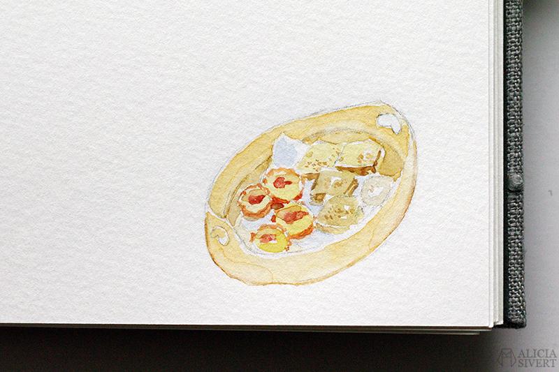 Mormors bok - handbunden bok med illustrationer i akvarell, av Alicia Sivertsson - www.aliciasivert.se / Svepask kakor